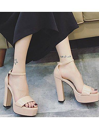WSS 2016 Chaussures Femme-Décontracté-Noir / Rose / Rouge / Argent / Gris-Gros Talon-Talons-Chaussures à Talons-Cuir Verni pink-us5.5 / eu36 / uk3.5 / cn35