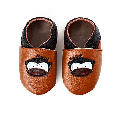 smileBaby Premium Leder Lauflernschuhe Krabbelschuhe Babyschuhe Braun Affe 6 bis 12 Monate
