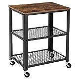 SONGMICS Servierwagen, Küchenwagen, Rollwagen, Küchenregal, aus Holz und Metall, auf 4 Rollen, 3 Ebenen für Küche und Wohnzimmer, Vintage schwarz LRC78X