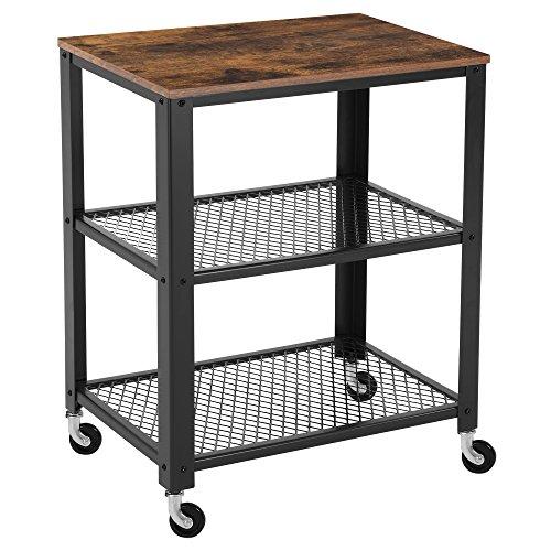 Songmics carrello di servizio rustico, carrello cucina a 3 piani, portaoggetti pesante, con ripiano in legno, rotelle, per cucina e soggiorno, vintage, nero lrc78x