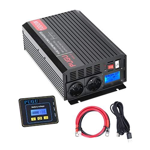 Hifeel Spannungswandler 3500W 7000 Watt 12V 230V Reiner Sinus Wechselrichter Inverter mit 2 Meter Fernbedienung und Kabel (1000W / 2000W (mit LCD))
