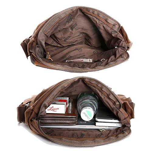 Herren Schultertaschen, DAFROH Vintage Messenger Bags Umhängetaschen Aus Hochwertige Segeltuch & Leder für Reise Outdoor Wander (Umhängetaschen Grün) Umhängetaschen Braun