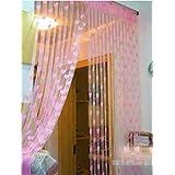 Ramcha Heart 2 Piece Polyester String Door Curtain Set - 6.5ft, Pink
