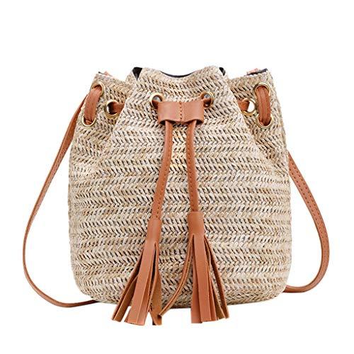 Ledertasche, Schultertasche, Geschenk, Handgefertigte Tasche,Mode Dame Literary Straw Quaste Bucket Wilde Umhängetasche Messenger Bag ()