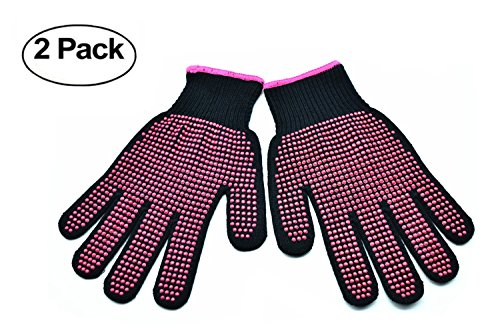 Orchidtent Mehrzweck-doppelseitige hitzebeständige rutschfeste Handschuhe für Haarstyling, Lockenwickler Richtmaschinen, Handschutz Wärmeschutzhandschuhe für Curling 1Pair