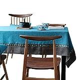 Sun Welten Southeast asiatischen Stil Tischdecke/Wohnzimmer, Tisch, Couchtisch, Abendessen Raum, zarte Pure Color Tischdecke, Dekoration rechteckig Tischdecke, quadratisch, blau / grau, 140 × 200 cm