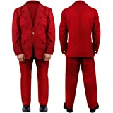 MENS LAUGHING MAN FANCY DRESS COSTUME - BURGUNDY SUIT MOVIE HALLOWEEN CLOWN COSTUME SUIT (SMALL)