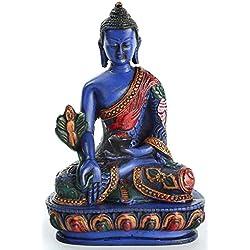 Medicina Buda Estatua de Resin acuosa 13,5cm Alto Azul