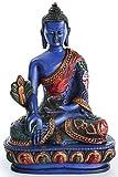 BUDDHAFIGUREN Estatua de resina de Buda de medicina - 13.5 cm de altura en azul pintado