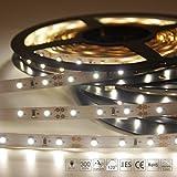 Signcomplex Flexibler LED Streifen 3528 SMD LED mit 3M Selbstklebe band 5 Meter pro Rolle 12 V DC (Natürliches Weiß)