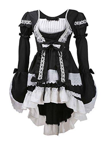 Damen Lolita Gothic Prinzessin Kleid Halloween-Abend Partei cosplay Kleidung des Mädchens (M, Schwarz)
