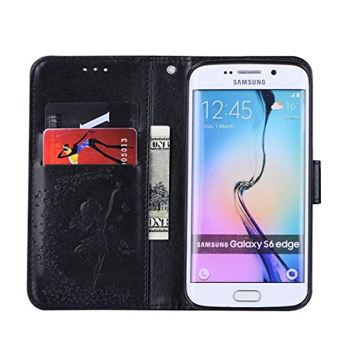 Abnehmbare 2 in 1 Crazy Horse Texture PU Ledertasche, Fairy Girl Embossed Pattern Flip Stand Case Tasche mit Lanyard & Card Cash Slots für Samsung Galaxy S6 ( Color : Red ) Black