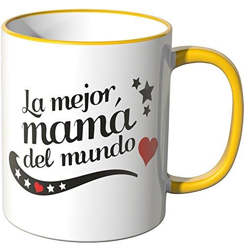 "Wandkings Taza, Dicho ""La mejor mamá del mundo"" - AMARILLO"