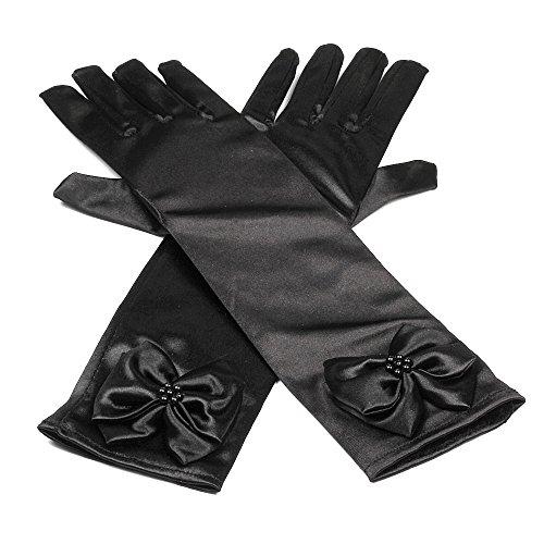 Hijos raso elastico vestido largo dedo guantes