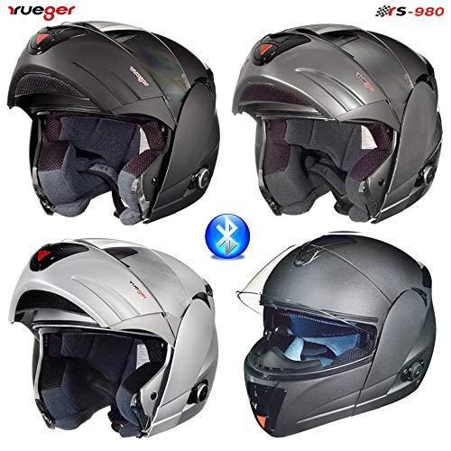 RS-980 Klapphelm Motorradhelm Bluetooth Conzept Motorrad Modular Roller Helm, Größe:XL (61-62), Farbe:Schwarz Matt
