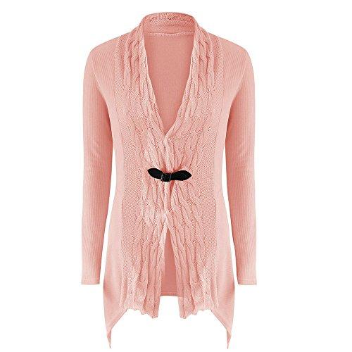 Cappotti,WINWINTOM Maglia A Manica Lunga Casuale Maglione Lavorato A Maglia Cardigan Outwear (L(EU=38), rosa)