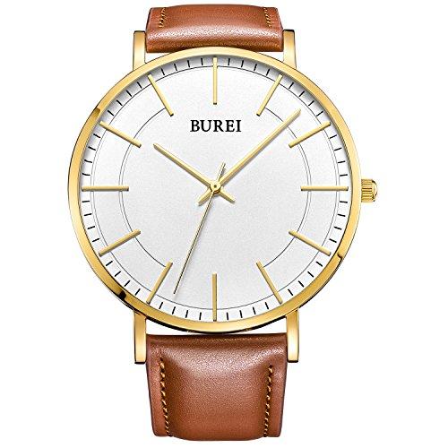 BUREI Herrenarmbanduhr mit weißem Zifferblatt und goldfarbener Beschriftung und Zeiger, braunes Echtlederarmband im Business-Style