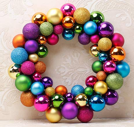 Queta Weihnachtskugeln Baumschmuck Weihnachtsbaum Weihnachtskugeln Set 55pcs Weihnachtsball Girlande für Weihnachten Dekoration (Bunt)