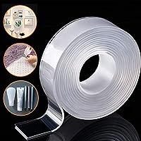 Nano Magic Tape Reutilizable - doble cara Cinta Adhesiva Fuerte, lavable,transparente para pared, cocina, alfombra, fijación de fotos -9.84ft por Honwally (3M)