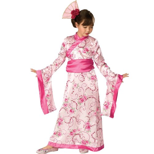 Asien China Kostüm Pink Asia Geisha Geishakostüm Prinzessinnenkostüm Japan Kimono Asiatin Kleid Mädchen Kinder Kinderkostüm Girl Japanerin Chinesin Prinzessin Princess Cheongsam Qipao Gr. M, S, Größe:M