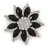 Broche Bouquet de fleur en cristal transparent/noir ton argent-55mm d...