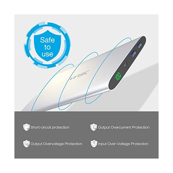 VINSIC Powerbank, 20000mAh Tre Porte QC 3.0 Rapida Carica Caricabatterie Portatile Micro&Type-C Dual USB Output Batteria… 5 spesavip