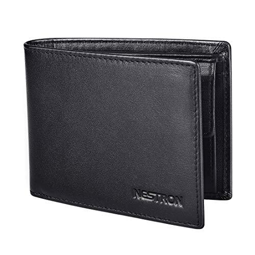 Geldbörse Herren aus Nappa Leder Schwarz, RFID Geldbeutel Männer, Portemonnaie Brieftasche Geldtasche Portmonaise Herrenbörse Ledergeldbörse von Nestron -