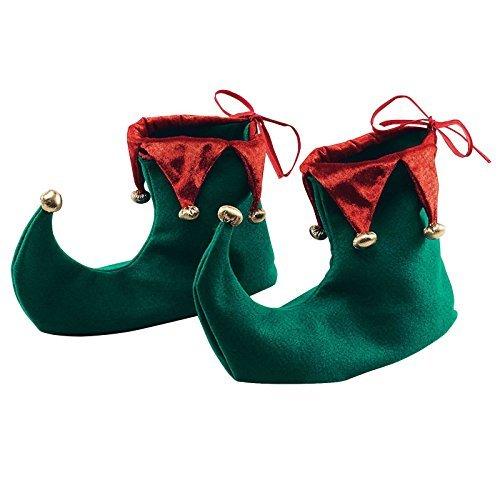Deluxe Weihnachten Spitz Elf Schuhe Stiefel Fancy Kleid Zubehör Erwachsene Santa 's Little Helper grün rot Elfen deckt bis Größe 10mit Gummi Grip Sohle (Filz Elfen Schuhe)