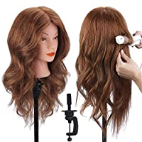 TopDirect Training Head 18inch 100% Real Human Hair Cosmetology Hairdressing Mannequin Manikin Doll with Table Clamp Holder + Braid Set