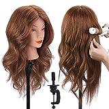 18' Tête à coiffer 100% Cheveux Naturel Vrai Cheveux Humains Mannequin Tête Formation Coiffure avec Support + Ensemble de Tresse 46cm par TopDirect