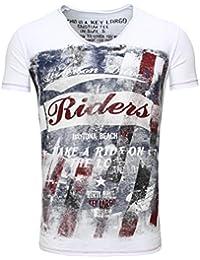 T-Shirt T Shirt Key Largo Herren Print V-Ausschnitt Slim Fit V-Neck  Bedruckt Aufdruck grau Druck Vintage Männer… 31c07ca36a