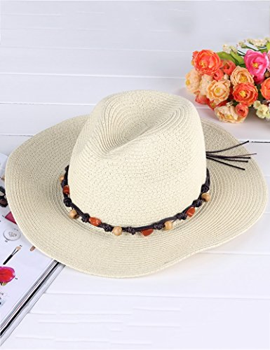 Chapeau de soleil Mme été style européen pierre couleur perles en bois cow-boy Paille de papier chapeau Sunscreen ombre bob Plage Cap ( Couleur : 1 ) 1