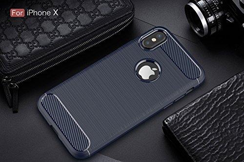 DBIT iPhone X Custodia ,Coperchio di Protezione Compatto in Fibra di Carbonio con Cassa Antiurto in Silicone Ultra Morbido e Leggero TPU Case Cover per iPhone X Smartphone,Blu Blu