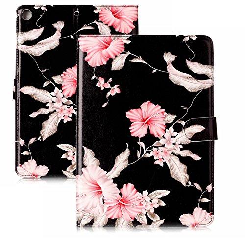Kompatibel mit iPad 9.7 2017 Ledertasche,Ultra Hybrid PU Leder Tasche Hülle mit Stand Kartenfach, Lederhülle Handyhülle mit Silikon Bumper Schutzhülle Case Cover +EINWEG Verpackung,Rhododendron