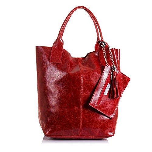 Firenze ARTEGIANI.Bolso Shopping Bag de Mujer Piel auténtica.Bolso Cuero Genuino Lacado...