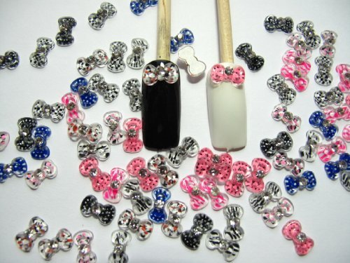 Nail Art 3d 80 Mix PRINT BOW /RHINESTONE for Nails, Cellphones by 3d nail art