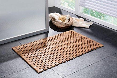 Designer Holzbadematte| Rutschfester Badvorleger | Robuste Badematte | Holzmatte für Bad, Sauna Wellnessbereich| Badteppich aus 100% Akazienholz