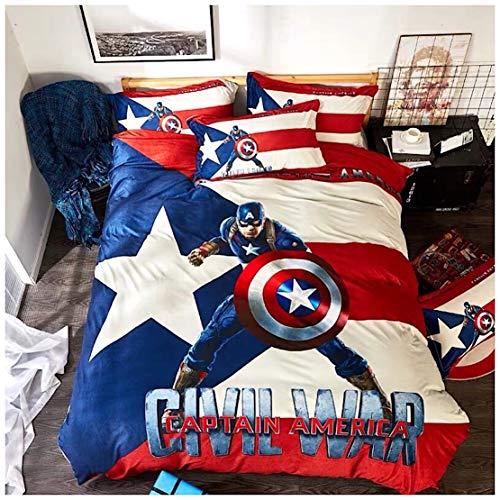Marvel Publishing, Inc. Bettwäsche-Set mit Captain America, 100% Baumwolle, 3- und 4-teilig, für Einzelbett, Queen, King-Size, Doppelbett, Blau Single Size blau