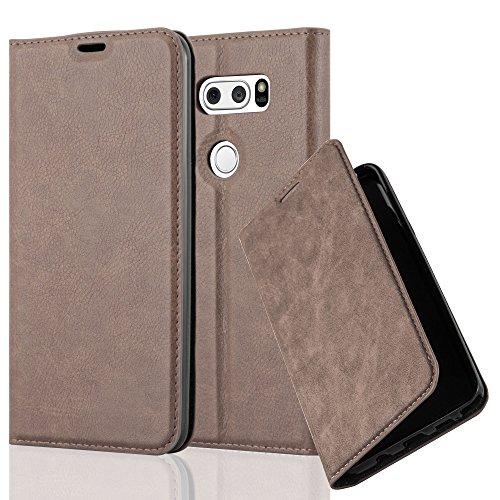 Cadorabo Hülle für LG V30 / V30+ / V30s / V30s+ - Hülle in Kaffee BRAUN – Handyhülle mit Magnetverschluss, Standfunktion und Kartenfach - Case Cover Schutzhülle Etui Tasche Book Klapp Style