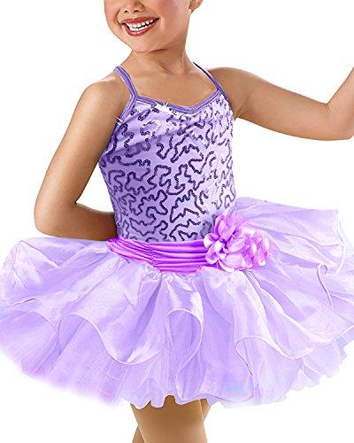 OBEEII Mädchen Kleid Ballettkleid Kinder Ballett Trikot Ballettanzug Pailletten Baumwolle Ärmellose Tutu Rock Party Gymnastik Tanz Klavier Kostüm 5-6 Jahre Violett