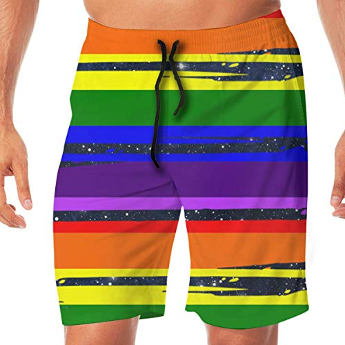Men Swim Trunks LGBT Flag Lightweight Beach Board Short with Pocket,XXL -