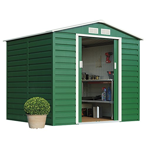 Metal Garden Shed Heavy Duty Reinforced Premium Outdoor Storage with Extra Strong Sliding Doors, Reinforced Wall Column Easy Access Ramp & Free Foundation Kit, Weatherproof Apex Roof