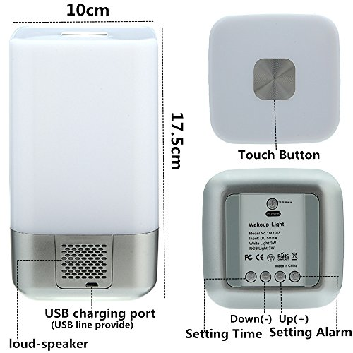 51BHMTIsAVL - GLIME Wake Up Light Alarm Clock Touch Control Beside Lamp  with Sunrise Simulation  224439c57