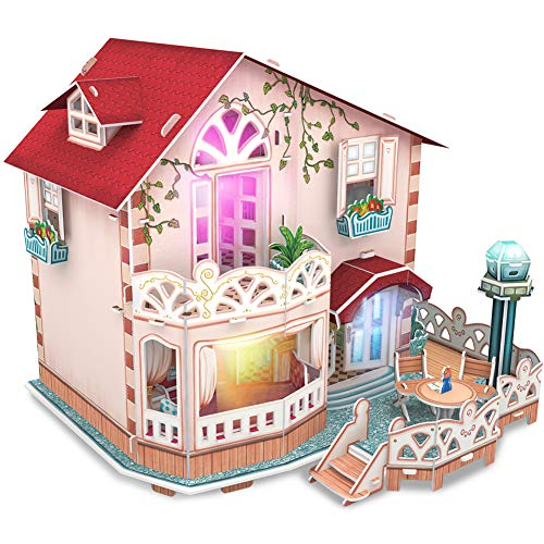 ollhouse Puppenhaus Kits mit Möbeln(LED), Ferienbungalow, Kinderhaus Spielzeug 116 Stück, P634h ()