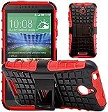 G-Shield Hülle für HTC Desire 510 Stoßfest Schutzhülle mit Ständer - Rot
