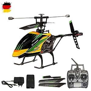 4.5 Kanal 2.4GHz RC ferngesteuerter XL Single-Blade Hubschrauber Helikopter mit 2,4GHz-Technik; UPGRADE EDITION optional mit Kamera erweiterbar, inkl. CRASH-KIT, Fernsteuerung und Akku
