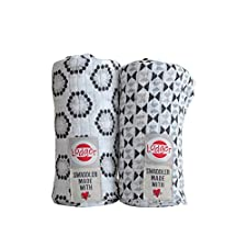 Lodger SWCTH60091033 Spucktücher Baumwolle Triangle Flower Print 2-Pack, schwarz / weiß
