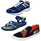 Earton Men Combo Pack Of 3 Sports Running Shoes With Loafers Shoes & Sandals
