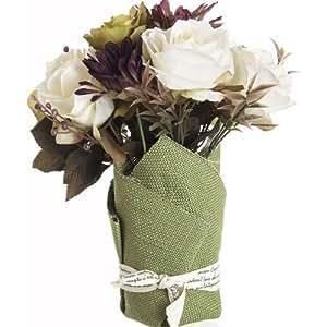 Composizione di fiori artificiali Rose bianche-Vaso in tessuto