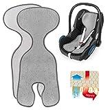 Zamboo Komfort Sitzauflage für Babyschale & Reboarder (passend für Maxi-Cosi, Cybex, Römer) | Atmungsaktive Sommer Sitzeinlage gegen Schwitzen, schont den Kindersitz Bezug - Grau